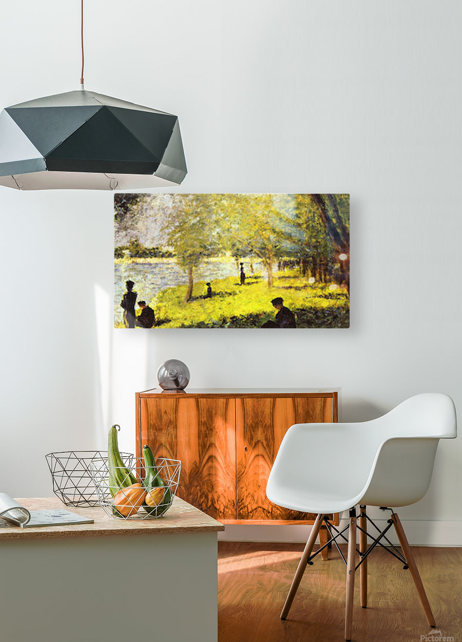 Group of people by Seurat  HD Metal print with Floating Frame on Back