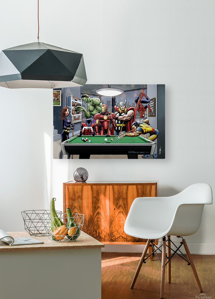 Afterhours: Marvel Superheroes Relax  Playing Pool featuring X-Men & Avengers, Wolverine, Spider-Man, Black Widow, Nightcrawler, Iron Man and Hulk  HD Metal print with Floating Frame on Back