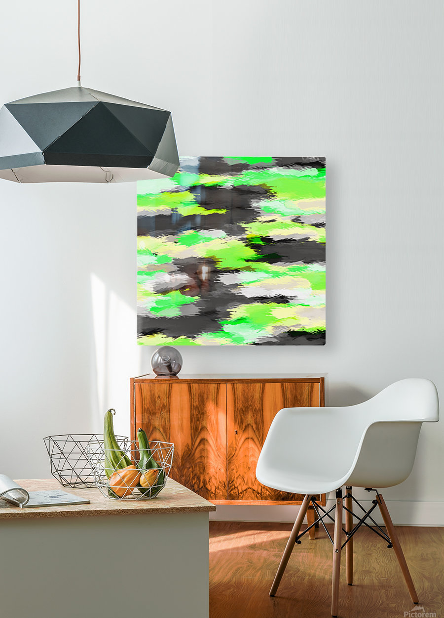 psychedelic camouflage splash painting abstract in green yellow and black  HD Metal print with Floating Frame on Back
