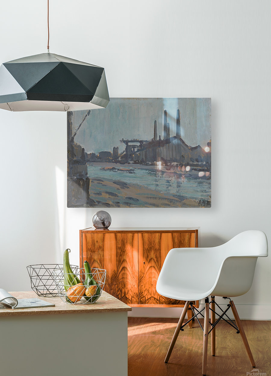 Landscape with industrial buildings by a river  HD Metal print with Floating Frame on Back
