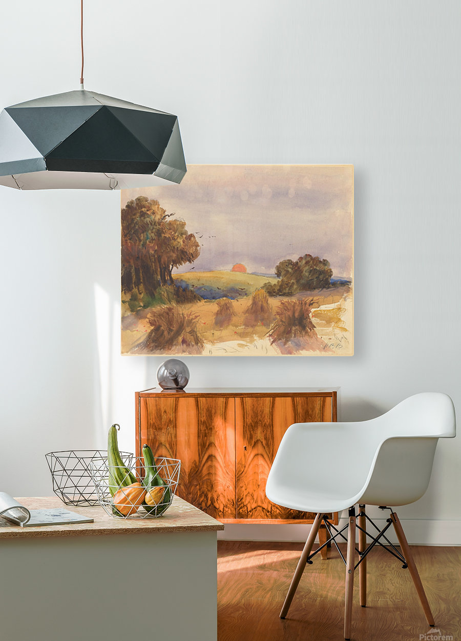 A cornfield at sunset  HD Metal print with Floating Frame on Back
