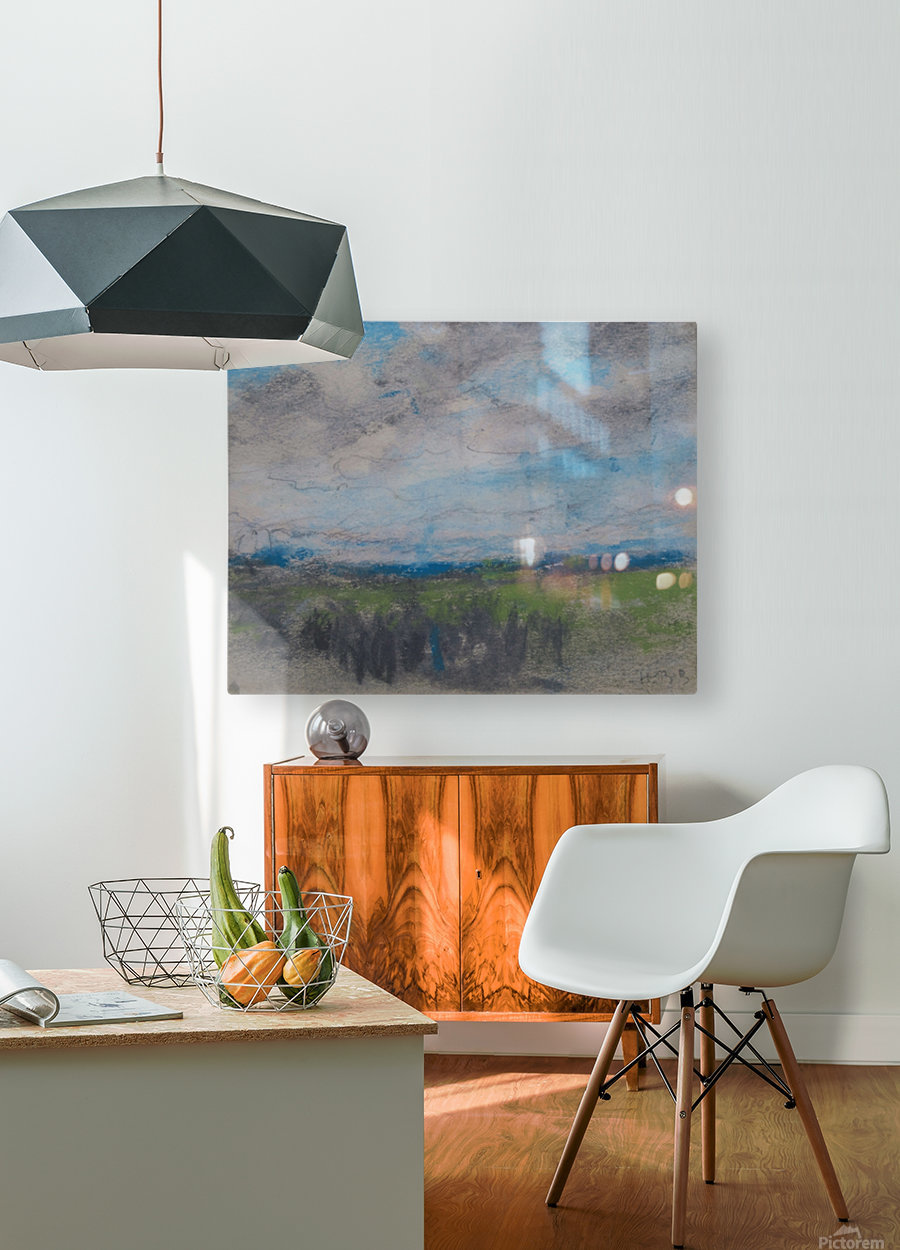 High windy sky over small copse  HD Metal print with Floating Frame on Back