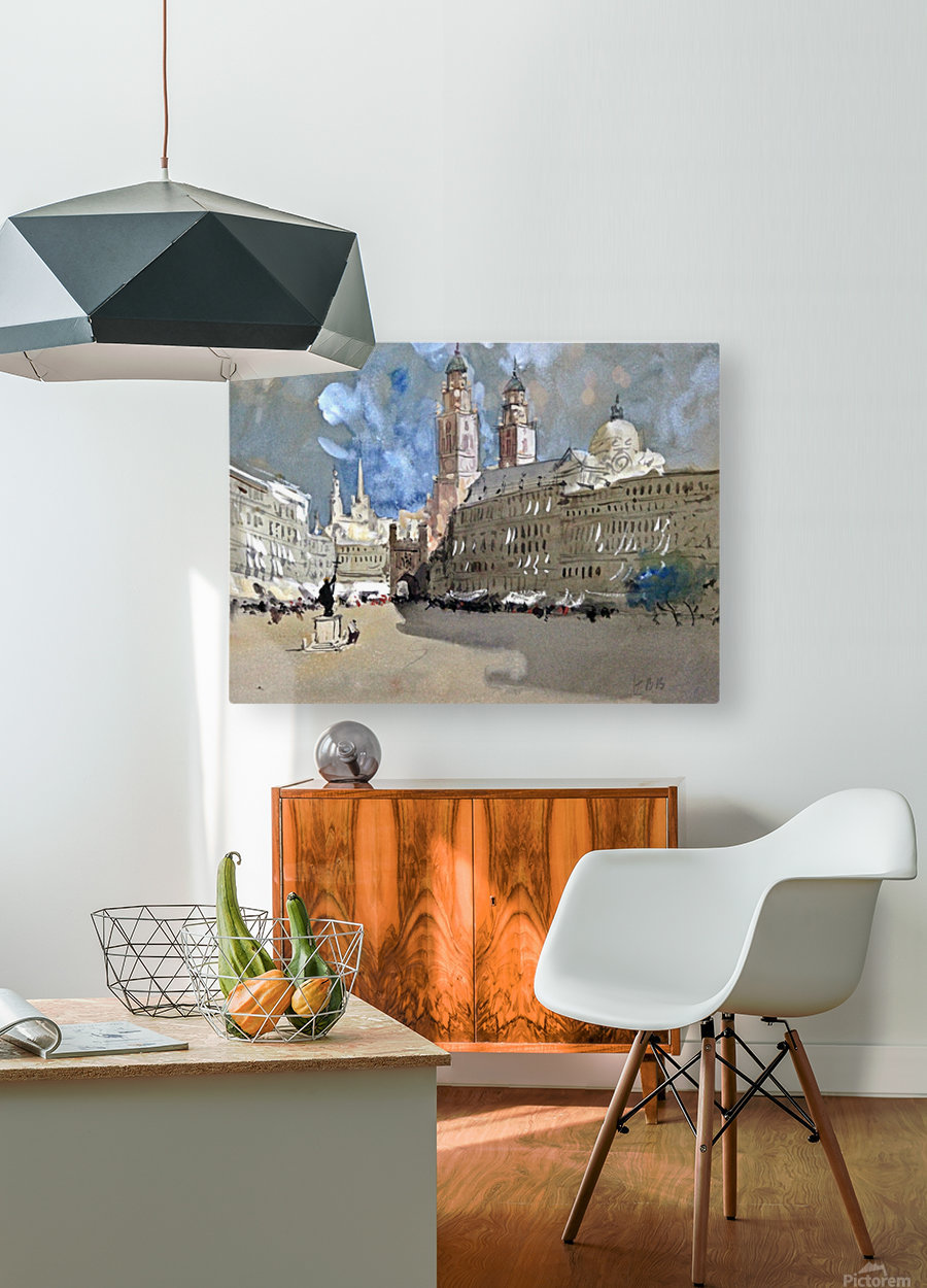 Great view of a large castle near market  HD Metal print with Floating Frame on Back
