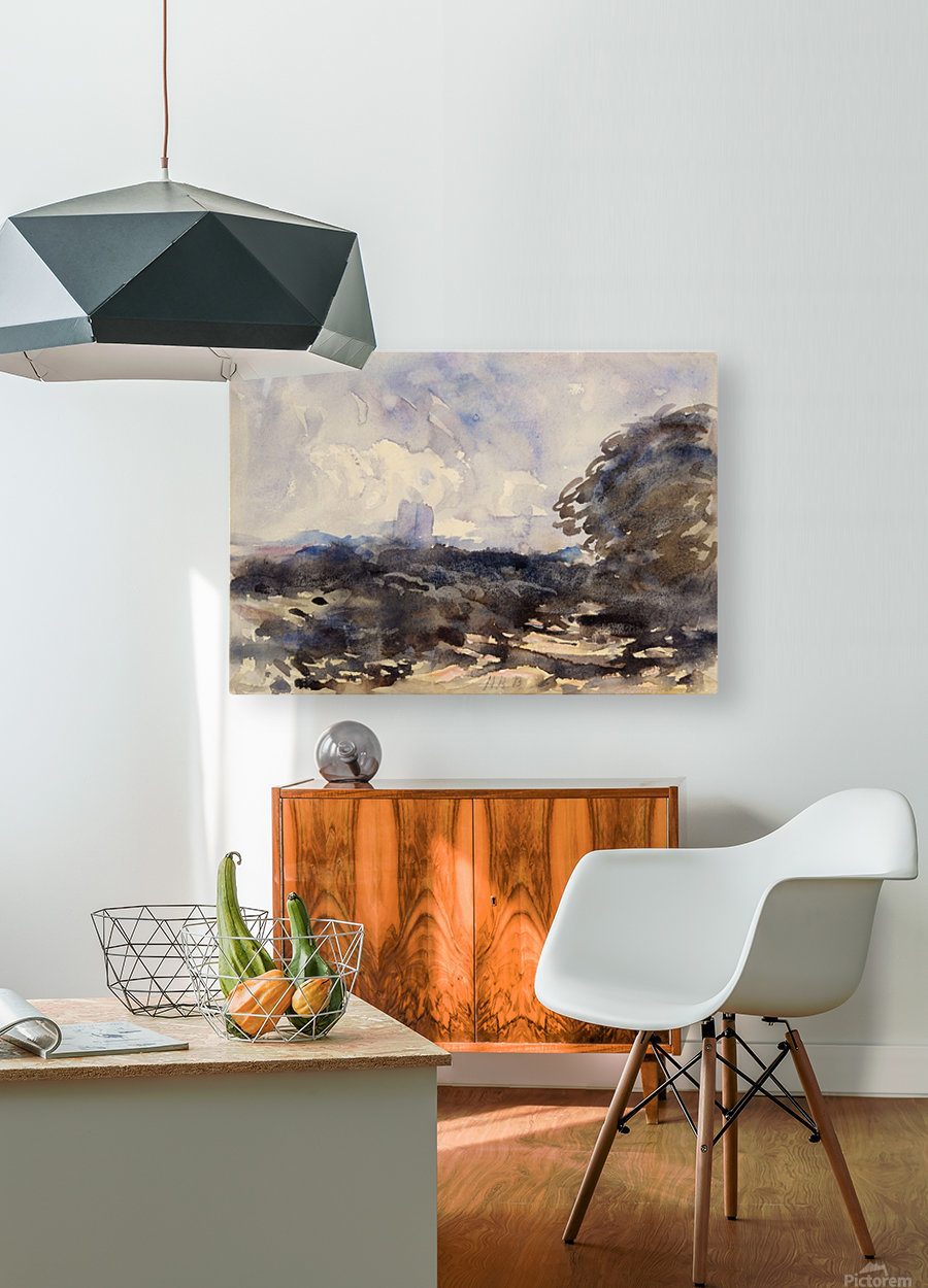View of a landscape with castle in the back  HD Metal print with Floating Frame on Back