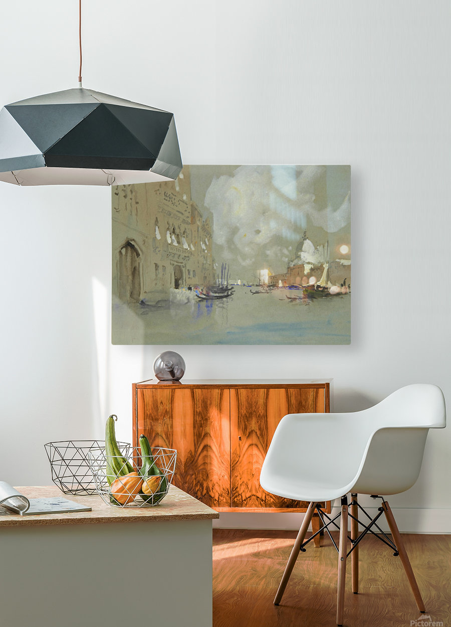 View of Venice along a canal  HD Metal print with Floating Frame on Back