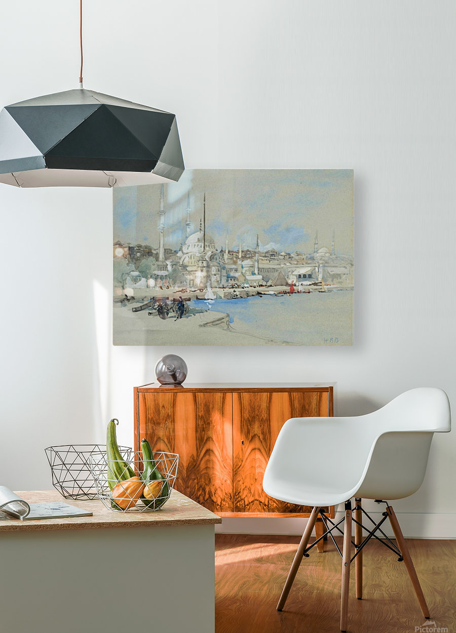 Suleymaniye Mosque with the Sultanahmet Mosque beyond, on the Golden Horn  HD Metal print with Floating Frame on Back