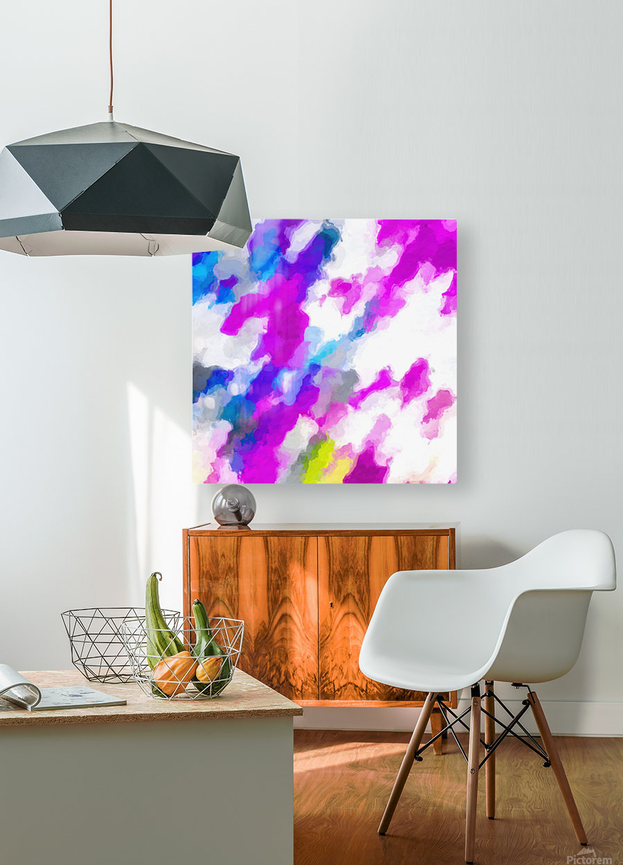 psychedelic painting texture abstract in pink purple blue yellow and white  HD Metal print with Floating Frame on Back