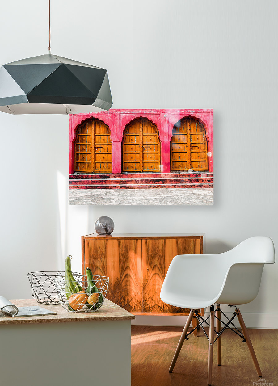 Doors of the Pink City   HD Metal print with Floating Frame on Back