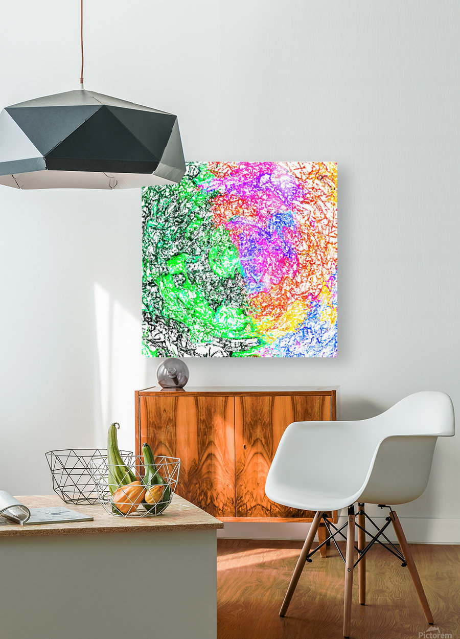 psychedelic splash painting abstract in pink purple green blue orange and yellow  HD Metal print with Floating Frame on Back