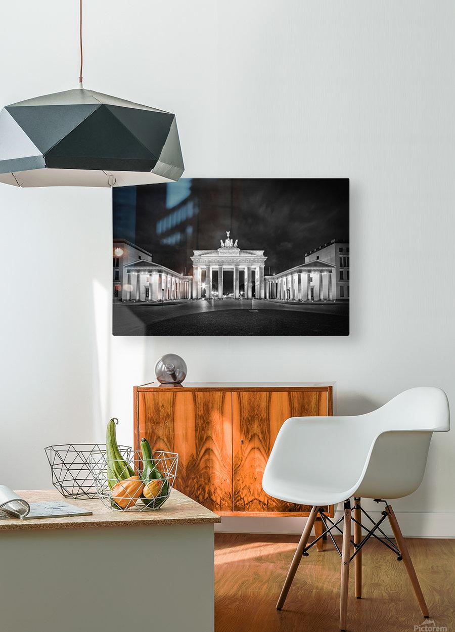 BERLIN Brandenburg Gate | Monochrome  HD Metal print with Floating Frame on Back