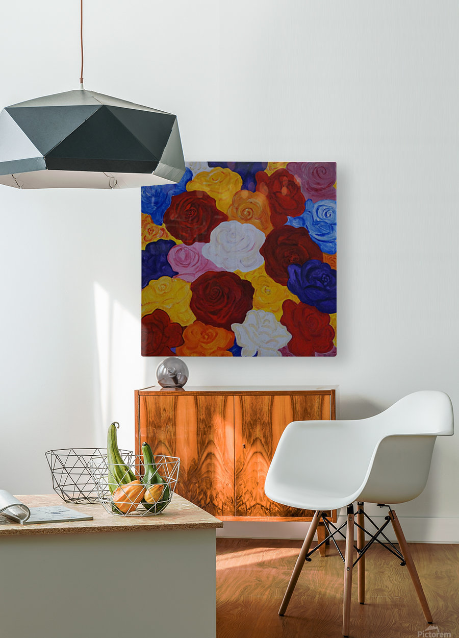 Colorful roses  HD Metal print with Floating Frame on Back