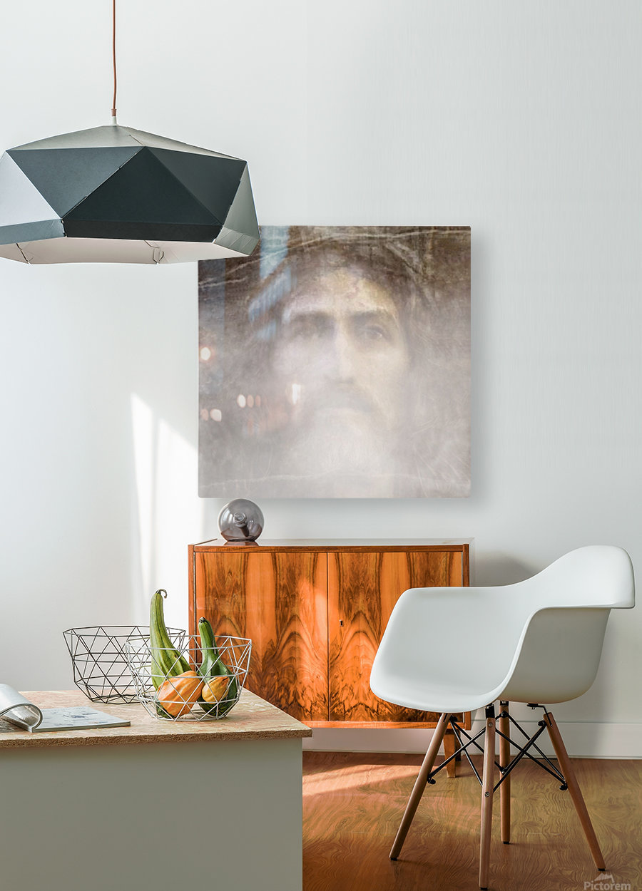 Christ face hidden in fog  HD Metal print with Floating Frame on Back