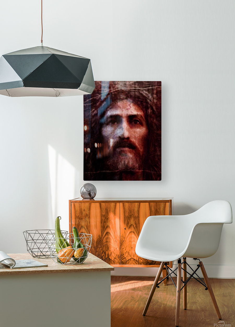 Christ face reconstruction claret  HD Metal print with Floating Frame on Back