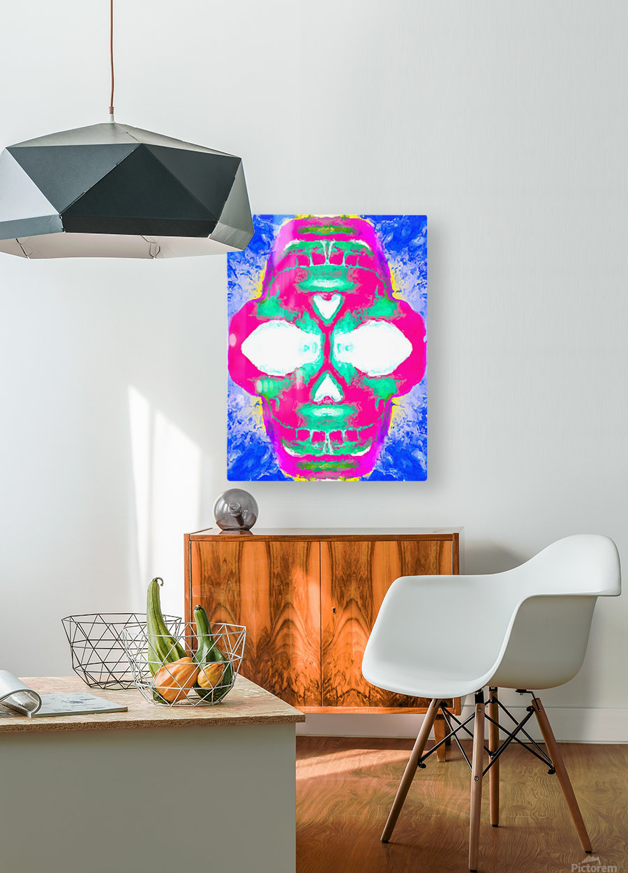 painting pink smiling skull head with blue and yellow background  HD Metal print with Floating Frame on Back