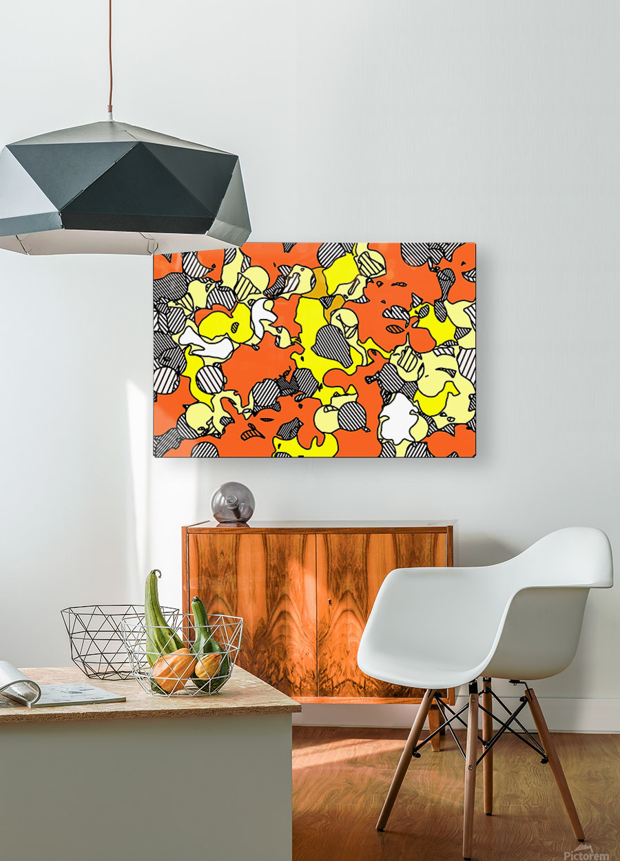 psychedelic drawing and painting abstract in orange and yellow  HD Metal print with Floating Frame on Back
