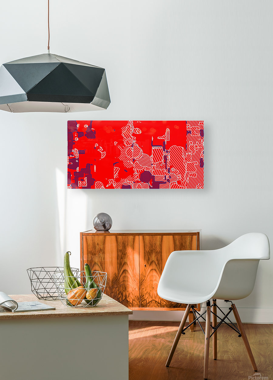graffiti drawing and painting abstract in red and blue  HD Metal print with Floating Frame on Back