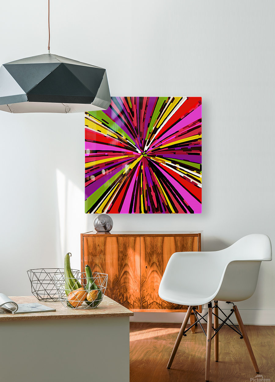 psychedelic geometric graffiti line pattern in pink purple yellow green red  HD Metal print with Floating Frame on Back