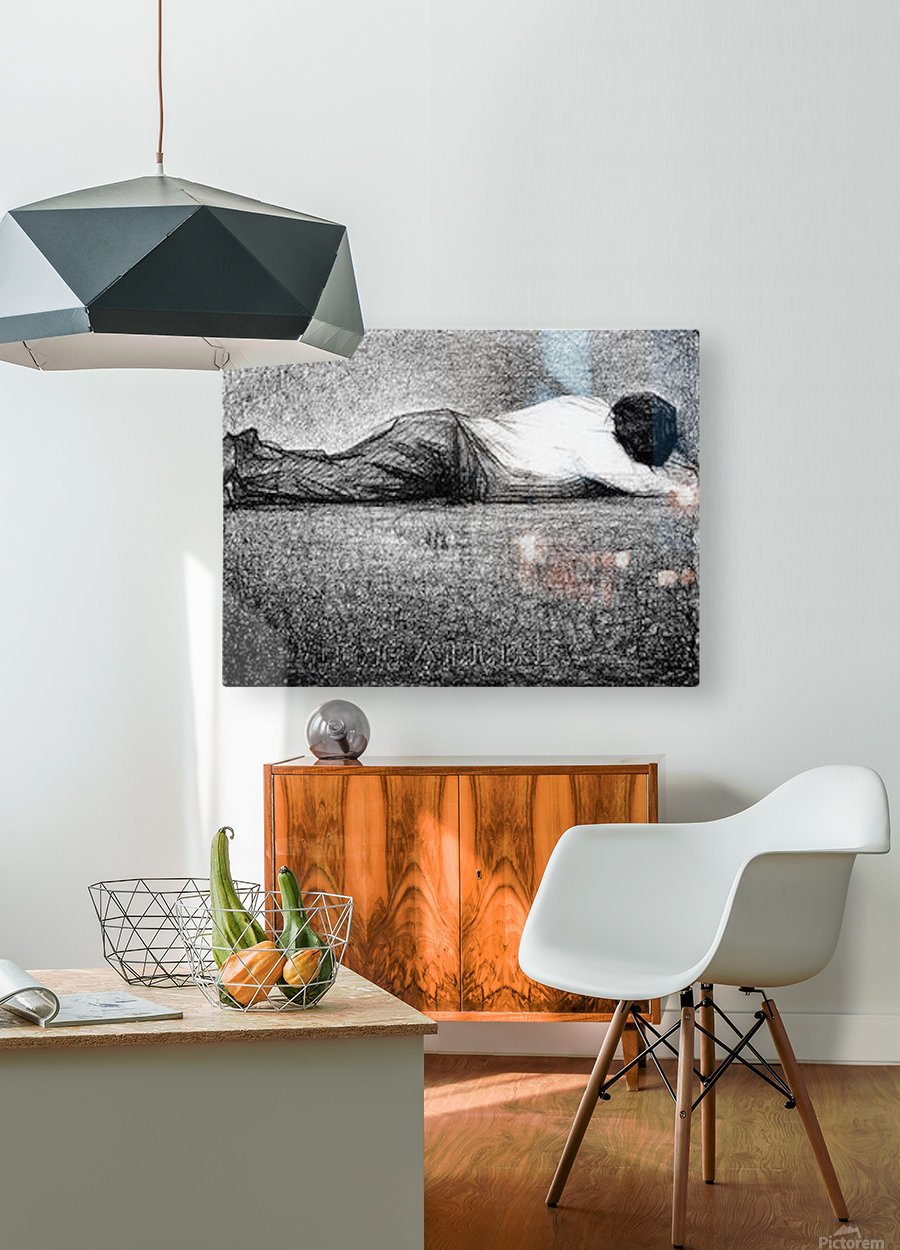 Man sleeping by Seurat  HD Metal print with Floating Frame on Back