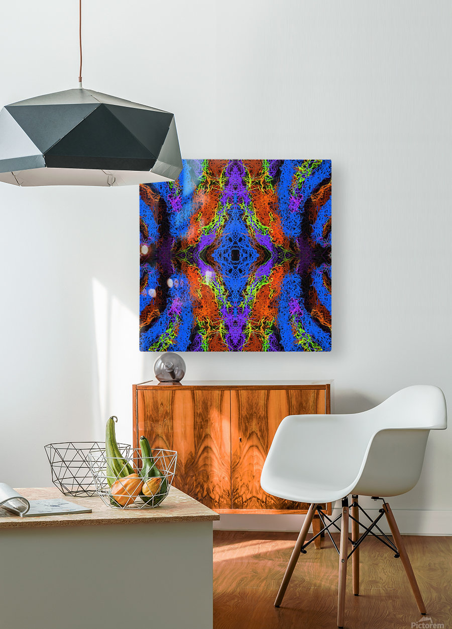 psychedelic graffiti geometric drawing abstract in blue purple orange yellow brown  HD Metal print with Floating Frame on Back