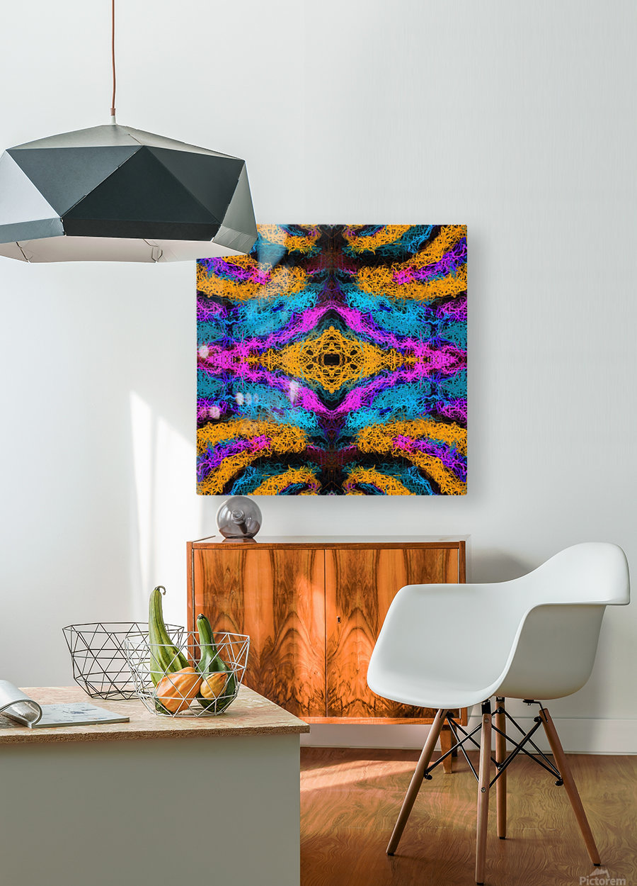 psychedelic graffiti geometric drawing abstract in pink orange blue  HD Metal print with Floating Frame on Back