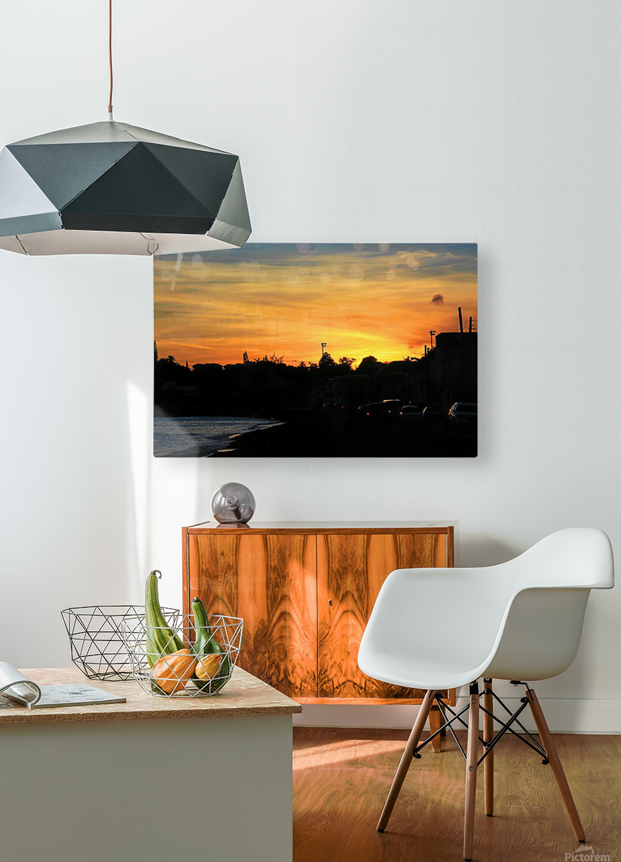 St Kitts Basseterre sunset  HD Metal print with Floating Frame on Back
