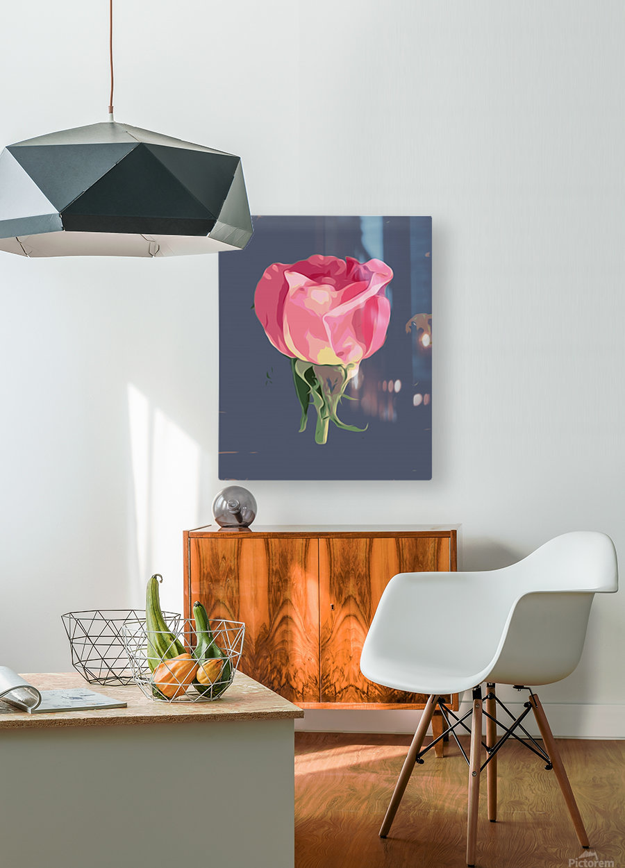 pink rose with grey background  HD Metal print with Floating Frame on Back