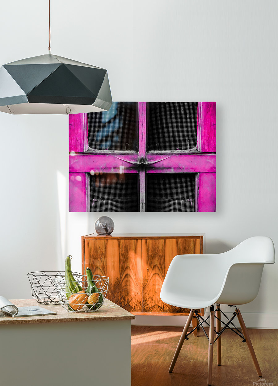 old pink wooden door abstract background  HD Metal print with Floating Frame on Back