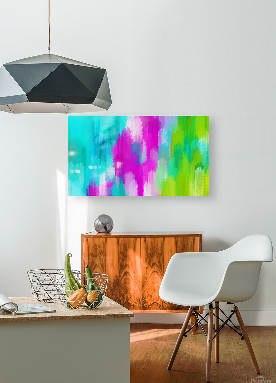 blue pink and green painting abstract background  HD Metal print with Floating Frame on Back