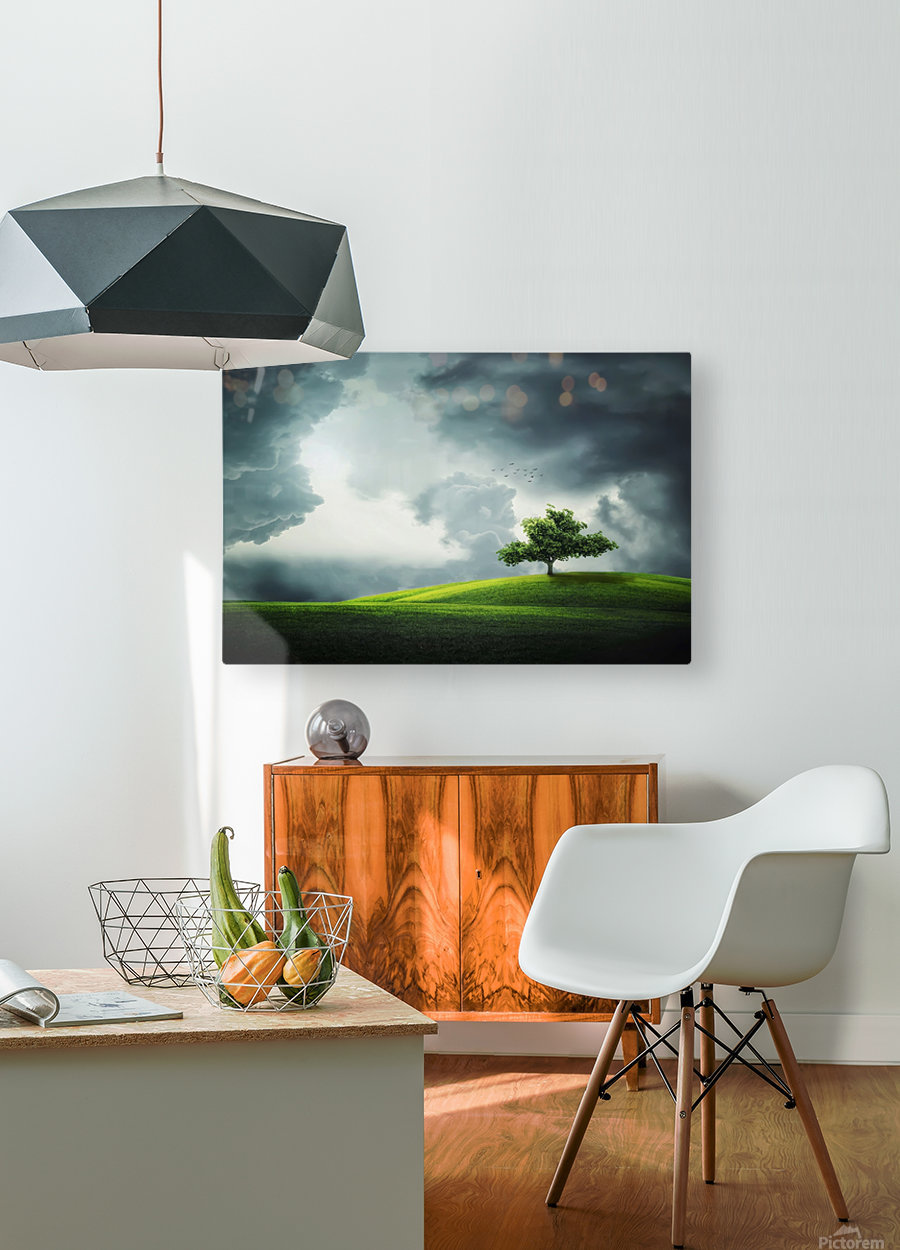 Lonely Tree, birds  HD Metal print with Floating Frame on Back