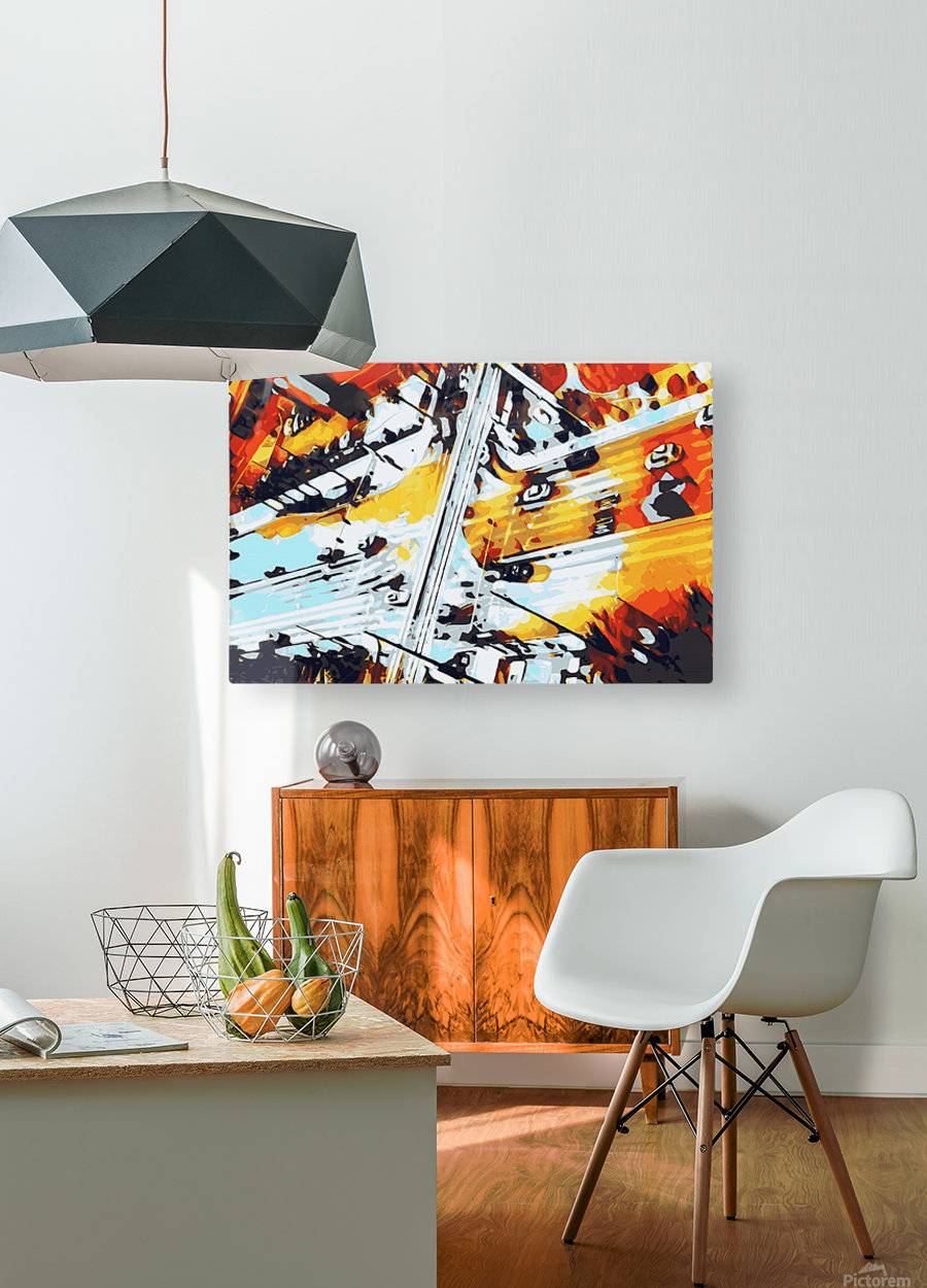 road in the city geometric abstract background  HD Metal print with Floating Frame on Back