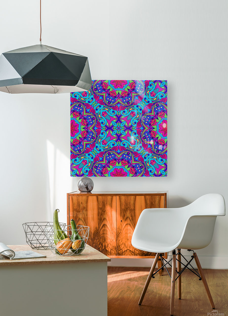Drawing Floral Doodle G1B  HD Metal print with Floating Frame on Back