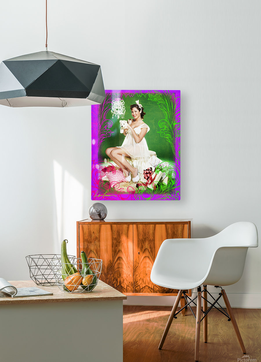 Lou Freeman© Vintage Pin Up  Girl with Harry  HD Metal print with Floating Frame on Back