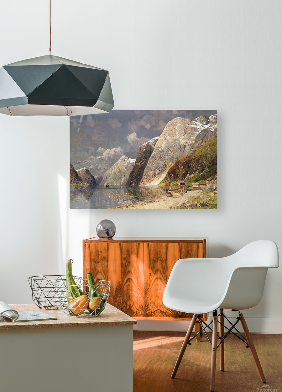 A river crossing the mountains  HD Metal print with Floating Frame on Back