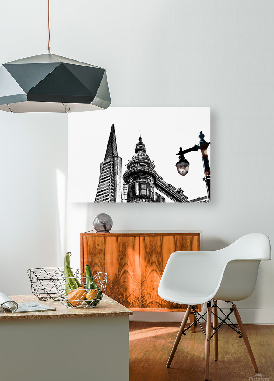pyramid building and vintage style building at San Francisco, USA in black and white  HD Metal print with Floating Frame on Back