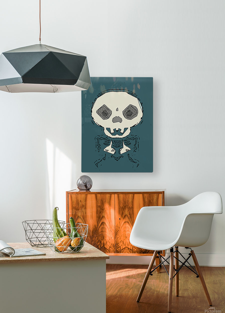 skull and bone graffiti drawing with green background  HD Metal print with Floating Frame on Back