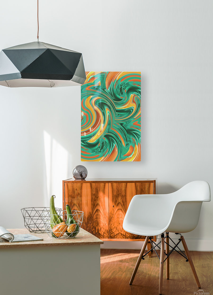 psychedelic graffiti wave pattern painting abstract in green brown yellow  HD Metal print with Floating Frame on Back