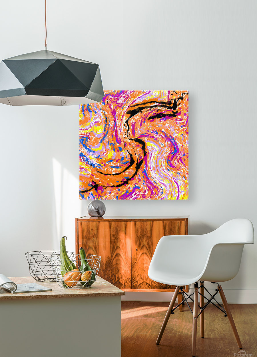 splash painting abstract in pink orange yellow blue and black  HD Metal print with Floating Frame on Back