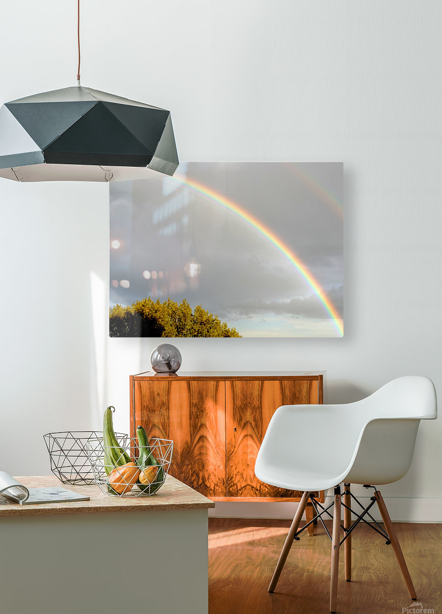 Landscape, photography - Double rainbow on Roman sky with tree - The Roman landscape, Rome, Italy, photography  HD Metal print with Floating Frame on Back
