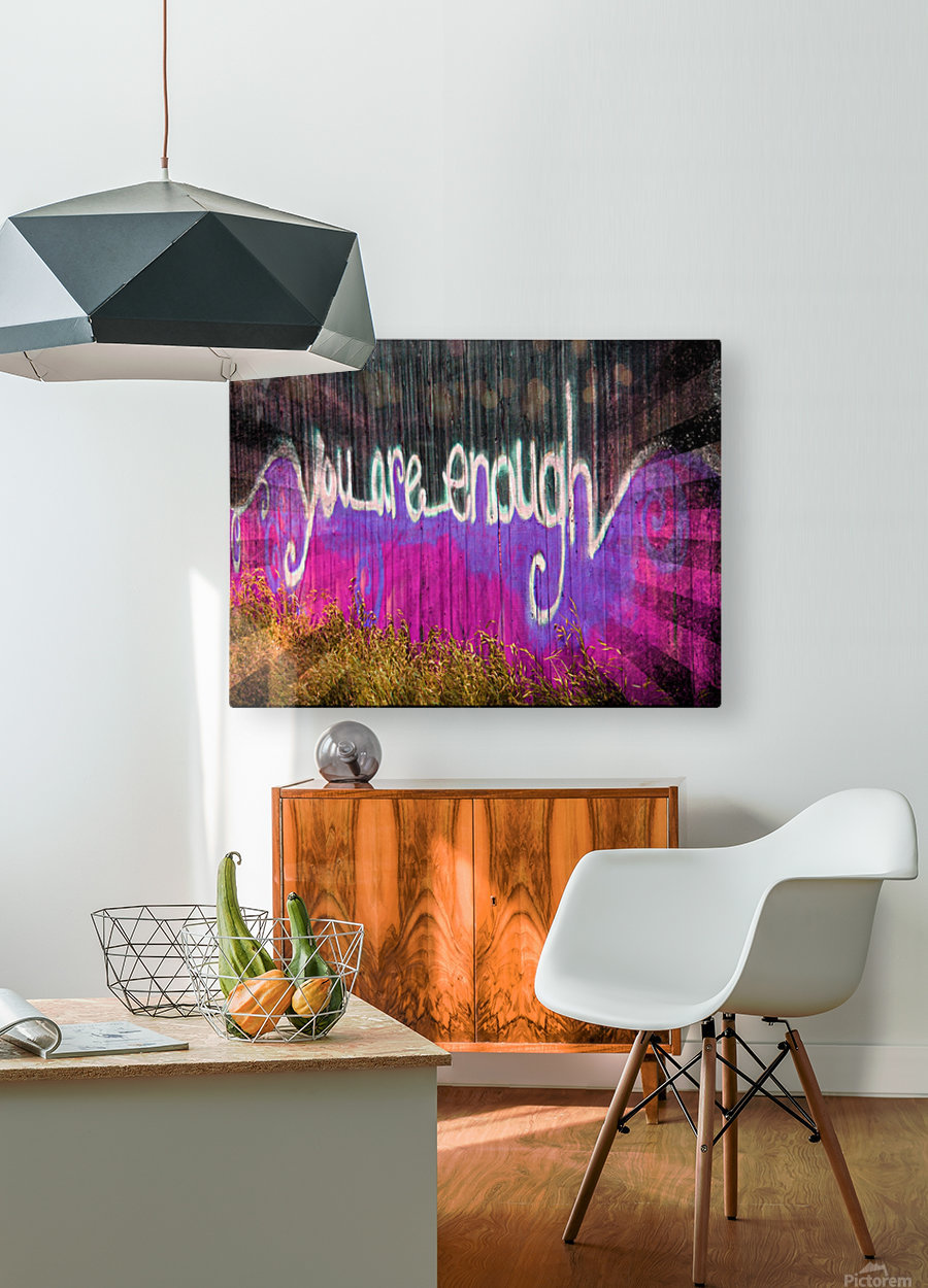You are enough- okc  HD Metal print with Floating Frame on Back