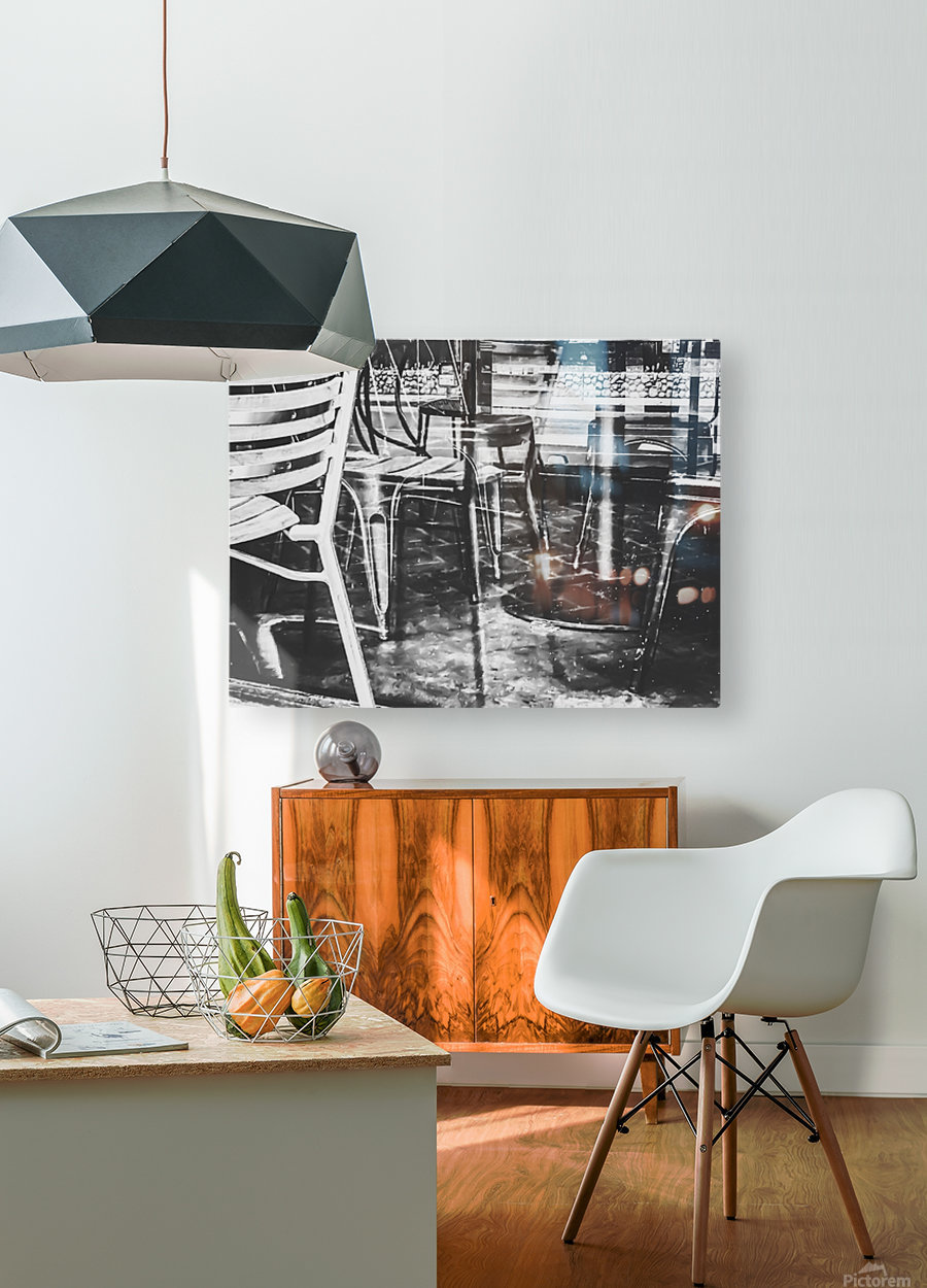 outdoor chairs in the city in black and white  HD Metal print with Floating Frame on Back