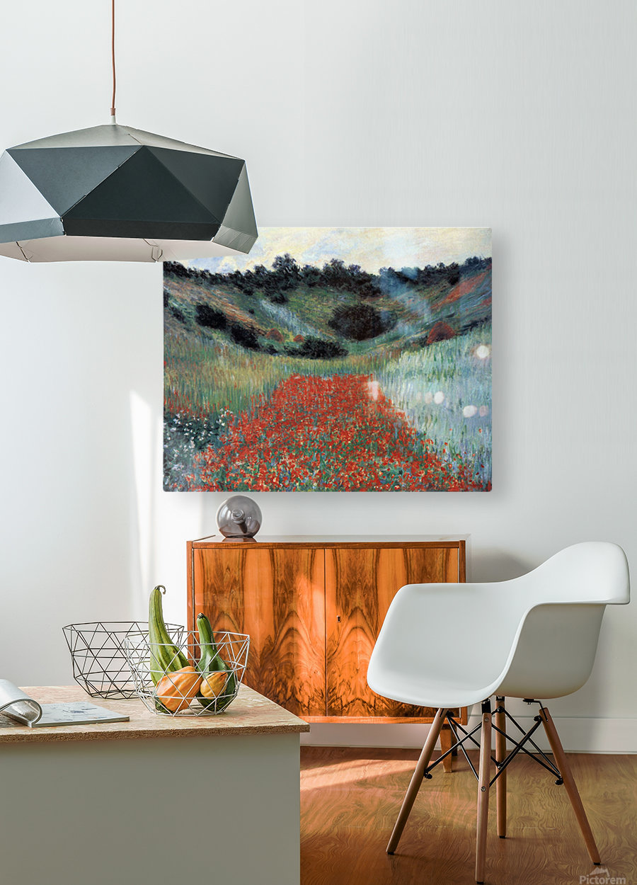 Poppy field in Giverny by Monet  HD Metal print with Floating Frame on Back
