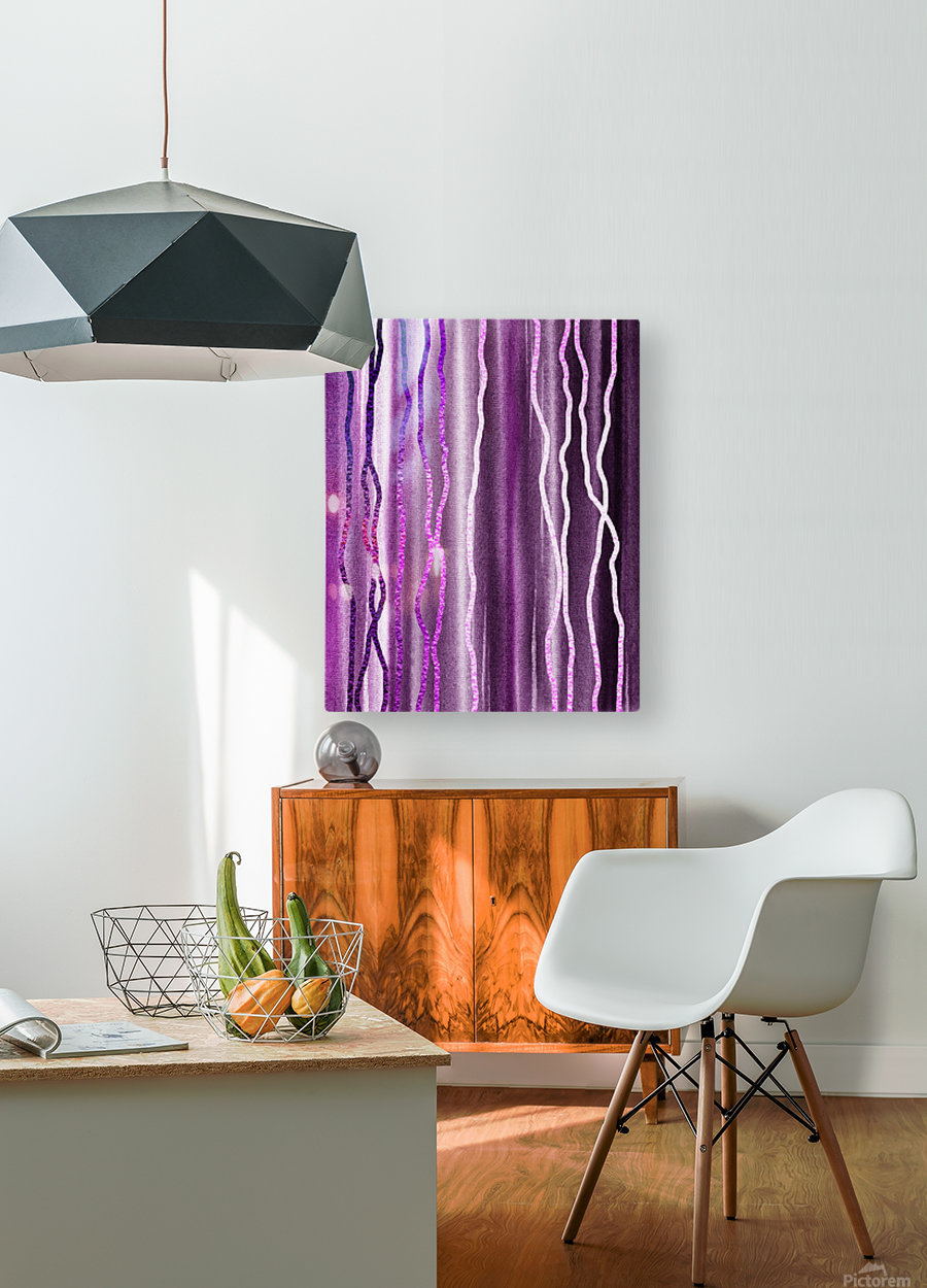 Organic Lines Purple Abstract  HD Metal print with Floating Frame on Back