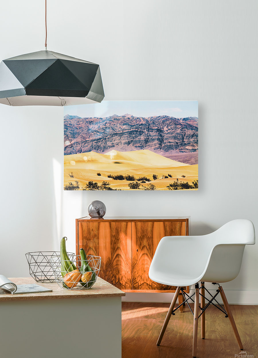 sand desert with mountain background at Death Valley national park, USA  HD Metal print with Floating Frame on Back