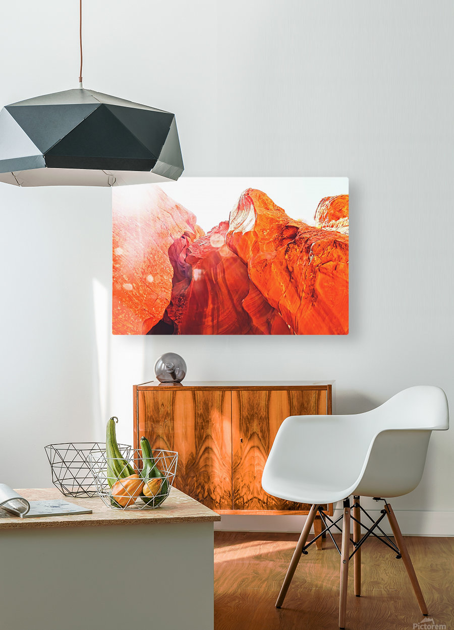 texture of the orange rock and stone at Antelope Canyon, USA  HD Metal print with Floating Frame on Back