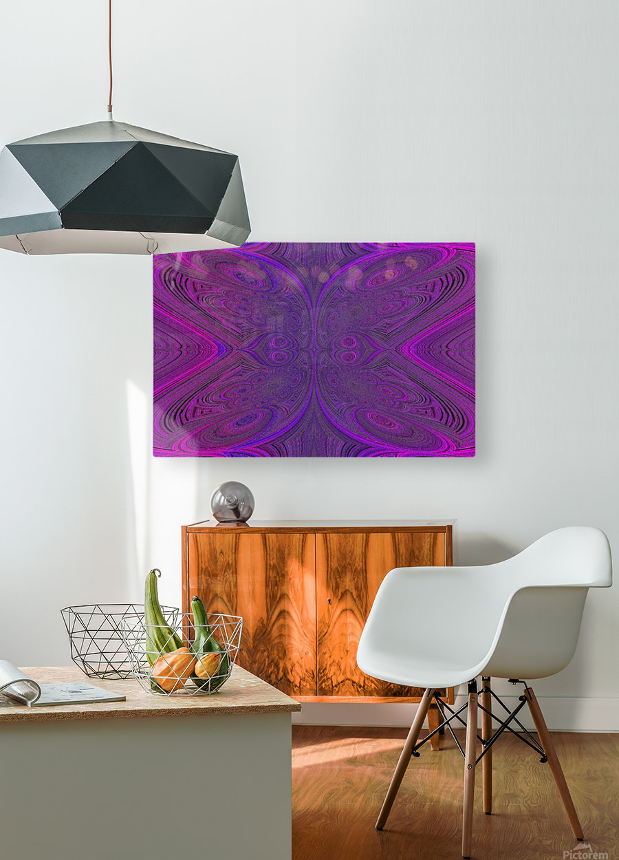 Digital Butterfly Purple Pink   HD Metal print with Floating Frame on Back
