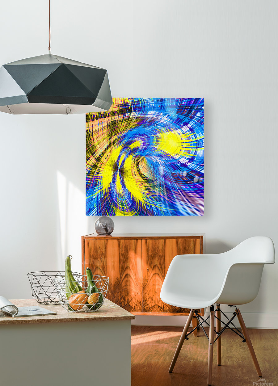 geometric psychedelic splash abstract pattern in blue and yellow  HD Metal print with Floating Frame on Back