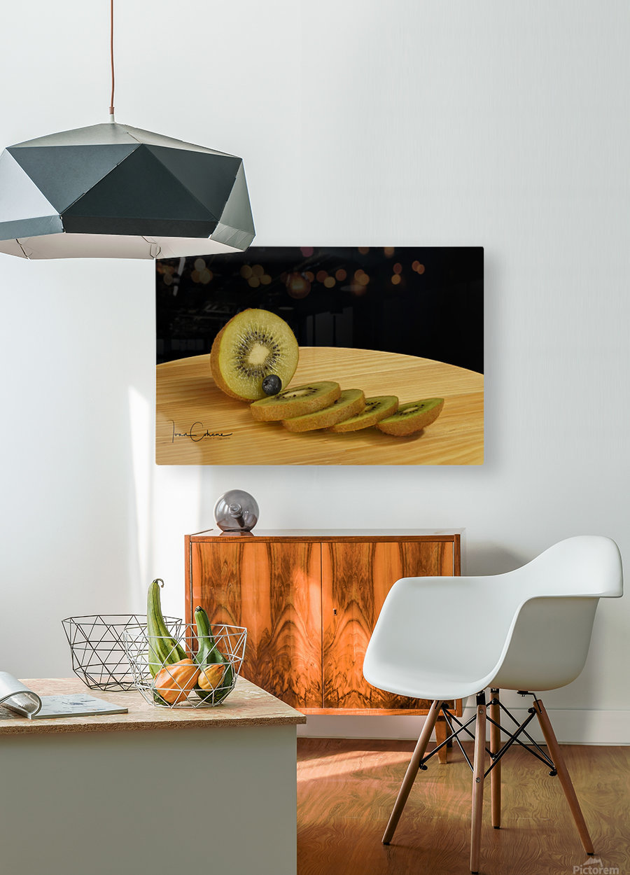 Kiwi  HD Metal print with Floating Frame on Back