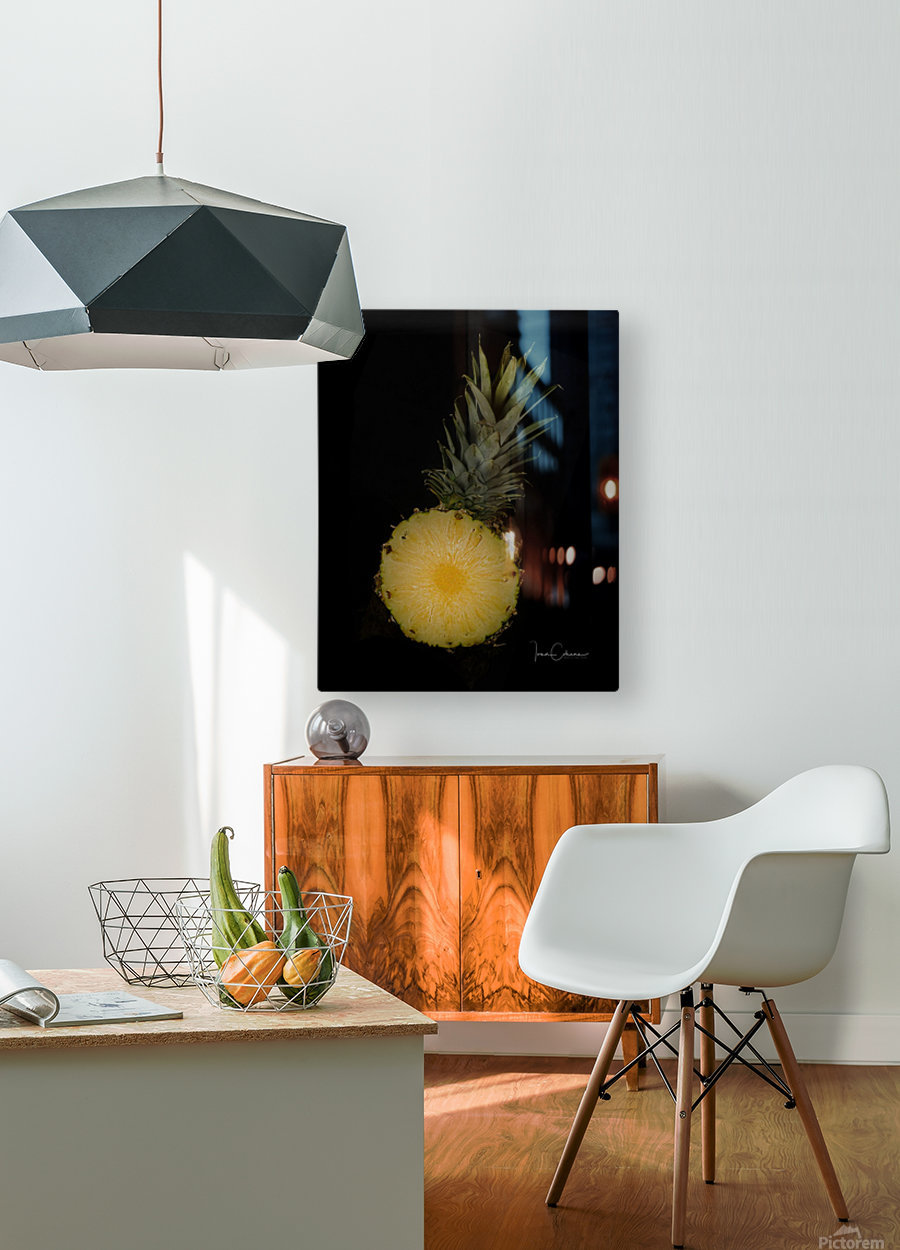 Pineapple  HD Metal print with Floating Frame on Back