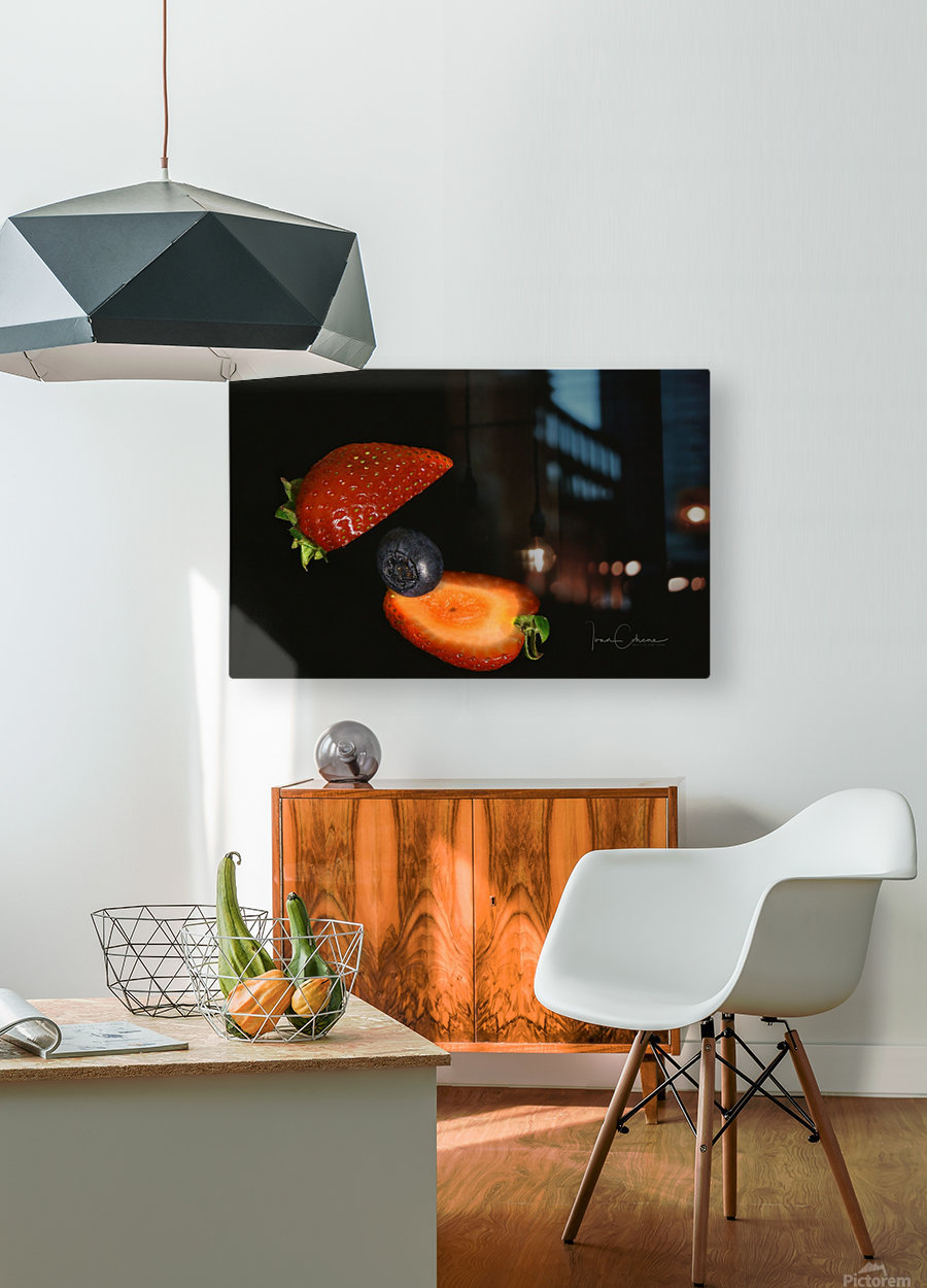Strawberry  HD Metal print with Floating Frame on Back