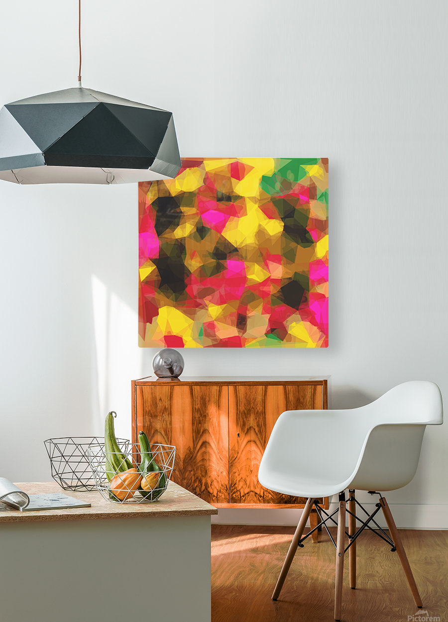 psychedelic geometric polygon shape pattern abstract in pink yellow green  HD Metal print with Floating Frame on Back